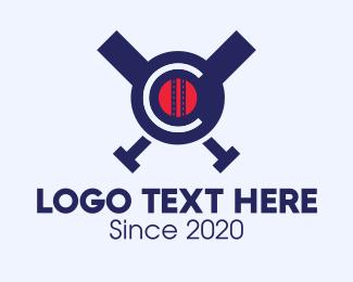 Baseball Bat - Baseball Team Crest Letter C logo design