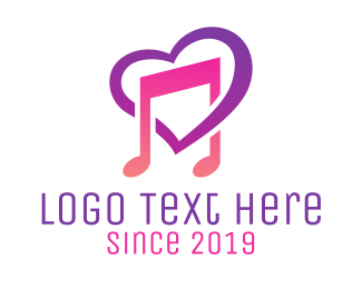 Pink Heart - Music Love Song logo design