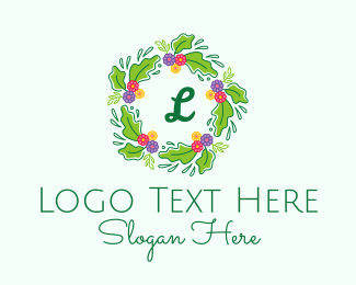 Invitation - Colorful Wreath Lettermark logo design