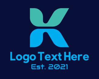 Typography - Digital App Letter K logo design