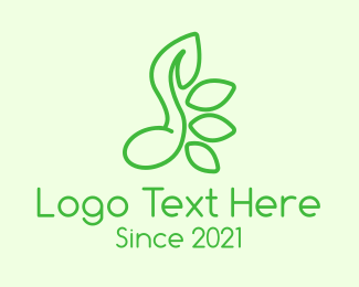 Leaf - Green Music Note Leaves logo design