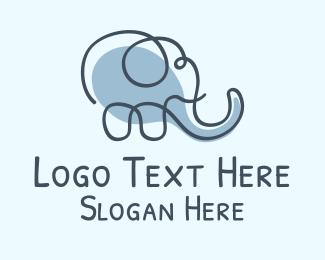 African Elephant - Elephant Line Art  logo design