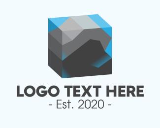 Minery - 3D Rock Aquarium logo design