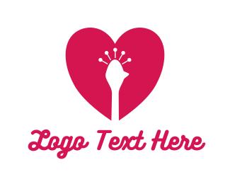 Romantic - Peacock Heart logo design