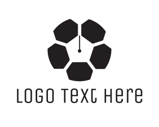 Timer - Soccer Ball Watch Clock logo design