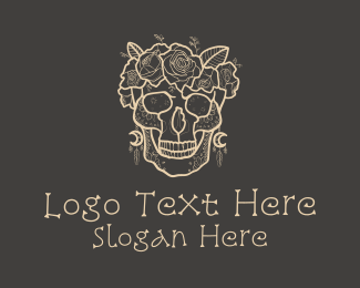 Goth - Beige Floral Skull logo design