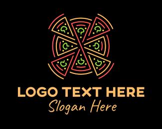 Pizza Delivery - Neon Lights Pizza Pie logo design