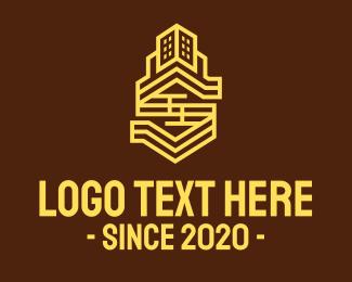 Residence - Yellow Residence Tower logo design