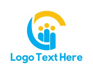 Human Resource - Blue Yellow Society logo design