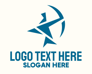 Polygonal - Blue Geometric Archery logo design