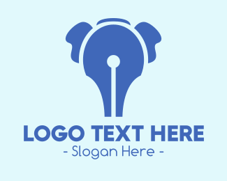 Linguistic - Blue Elephant Pen logo design