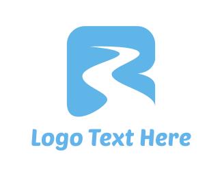 Waterfall - River & Letter R  logo design