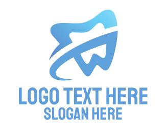 Tooth - Blue Tooth Swoosh logo design