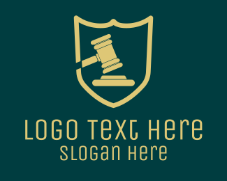Court - Law Shield Gavel  logo design