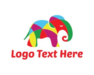 Art - Colorful Elephant  logo design