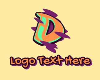 Teenager - Graffiti Art Letter D logo design