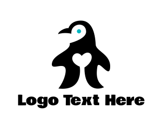 Black Bird - Penguin Love logo design