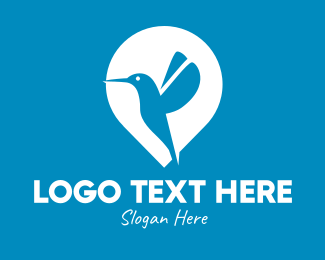 Hummingbird - Blue Hummingbird Location Pin logo design