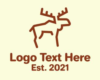 Minimalist Woodland Moose Logo