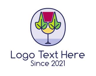 Restaurant - Organic Wine Glass logo design