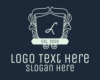 Trust - White Ornate Wreath Shield Lettermark logo design