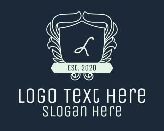 Flourish - White Ornate Wreath Shield Lettermark logo design