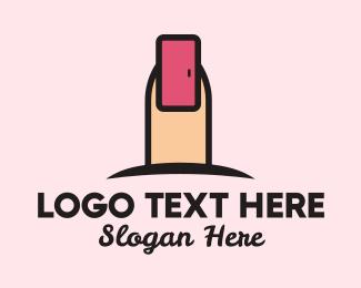Nail Artist - Pink Fingernail Door  logo design