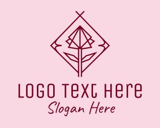 Rosebud - Maroon Geometric Rose  logo design