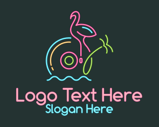 Lights - Neon Disc Tropical logo design