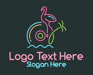 Tropical - Neon Disc Tropical logo design