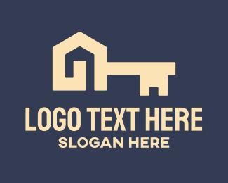 Unlocked - Modern House Key logo design