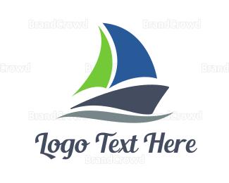Sailing - Abstract Sail Boat logo design