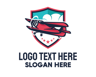 Aeroplane - Biplane Flight Airplane logo design