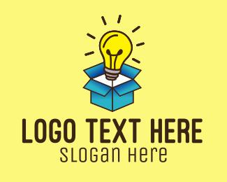 Venture - Lightbulb Box Idea logo design
