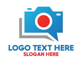 Blue Camera - Blue Camera Chat logo design