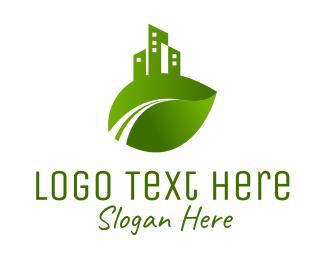 Architecture - Green City Leaf logo design