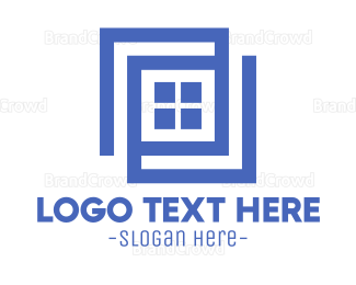 Window - Geometric Blue Window logo design