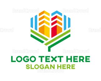 Broker - Colorful Realty Buildings logo design
