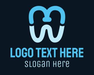 Dental Implant - Blue M Tooth logo design
