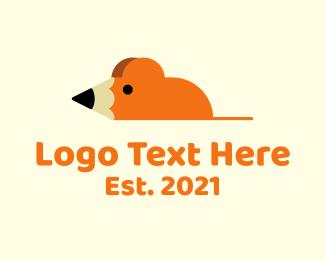 School - School Rat Pencil logo design