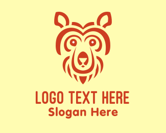 Brown Bear - Abstract Bear Head logo design