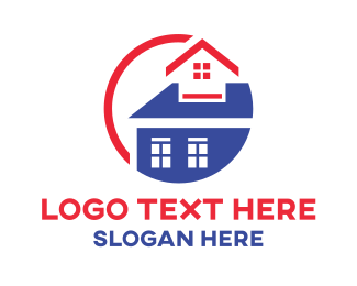Mortgage - Round Blue & Red House logo design