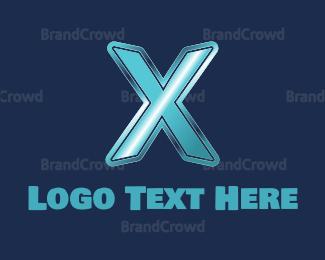 No - Blue Letter X logo design