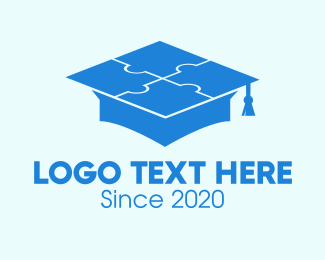 Teaching - Blue Puzzle Graduation Hat logo design