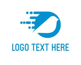 Courier - Digi Blue Bird logo design