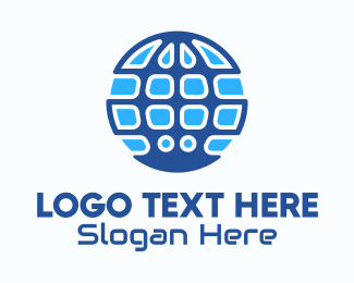 Data Technology - Blue Global Tech Company logo design