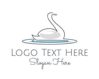 Lakeside - Swan Lake Outline  logo design