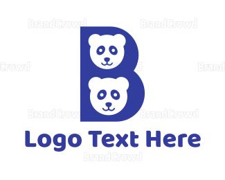 Teddy - Blue B Panda  logo design