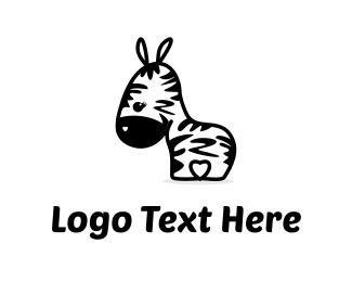 Horse - Cute Zebra logo design