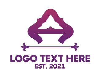 Hinduism - Purple Elegant Letter A logo design